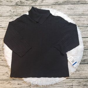 NWT Alfred Dunner Black Eyelet Cowl Neck Top